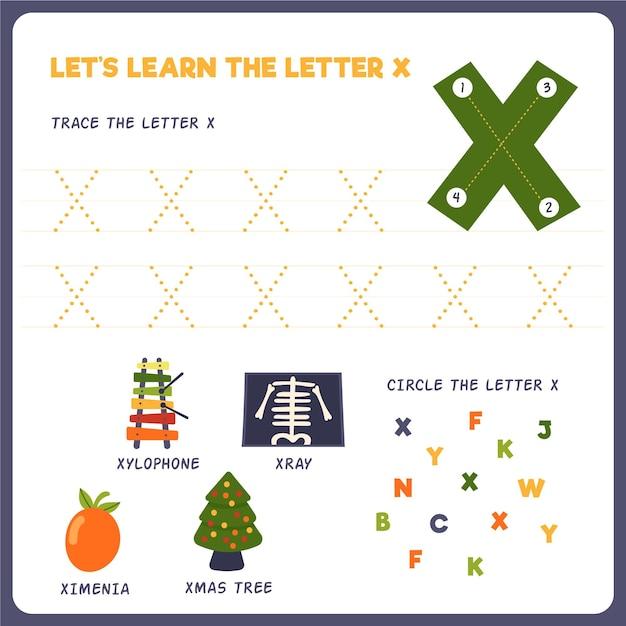 Letter x-werkblad voor kinderen Premium Vector