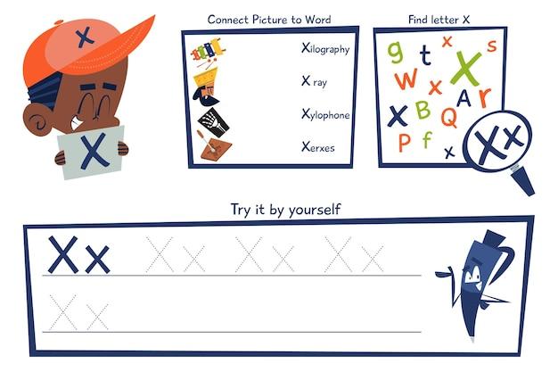 Letter x-werkbladsjabloon Premium Vector