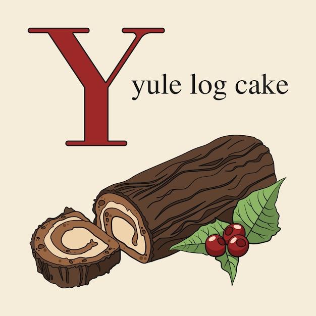 Letter y met yule log cake Premium Vector