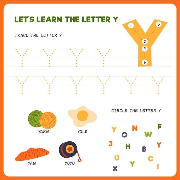 Letter y-werkblad voor kinderen Premium Vector