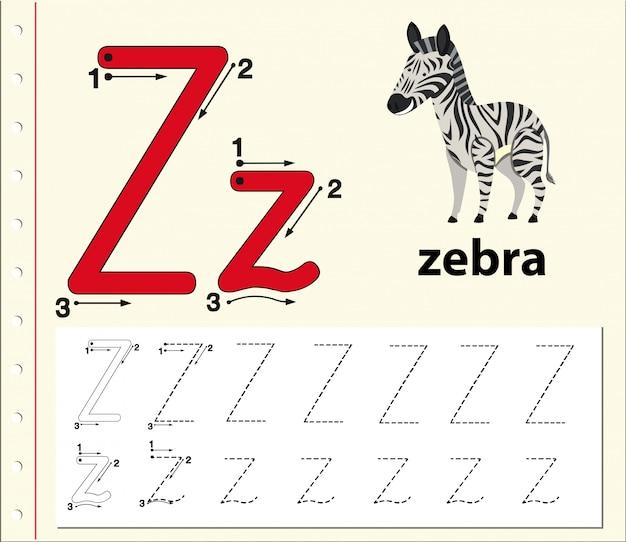 Letter z tracing alfabet werkbladen Premium Vector