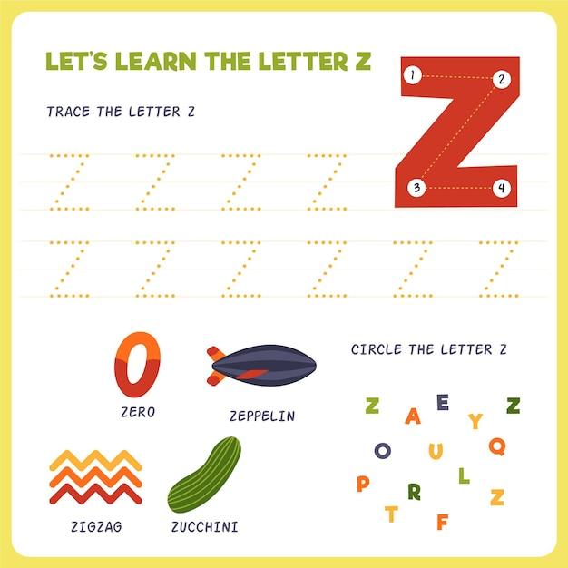 Letter z-werkblad voor kinderen Premium Vector