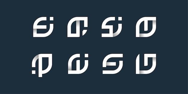 Letterlogo-collectie met gladde vorm en uniek modern concept, initieel Premium Vector