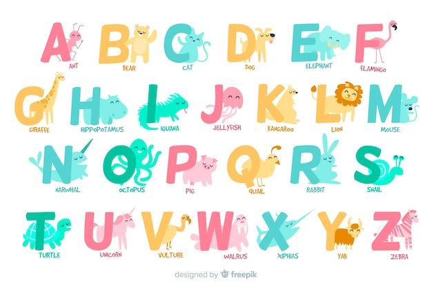 Letters van a tot z met dierlijk alfabet Gratis Vector