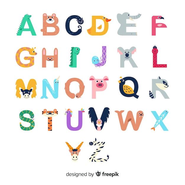 Letters van a tot z met schattige dierenvormen Gratis Vector
