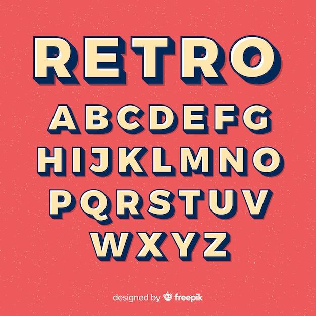 Lettertype alfabet in retro stijl Gratis Vector