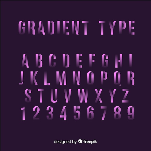 Lettertype alfabet in verloopstijl Gratis Vector