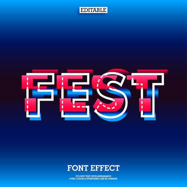 Lettertype-effect met glitcheffect voor modern fest-ontwerp Premium Vector