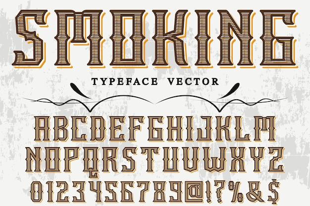 Lettertype labelontwerp roken Premium Vector