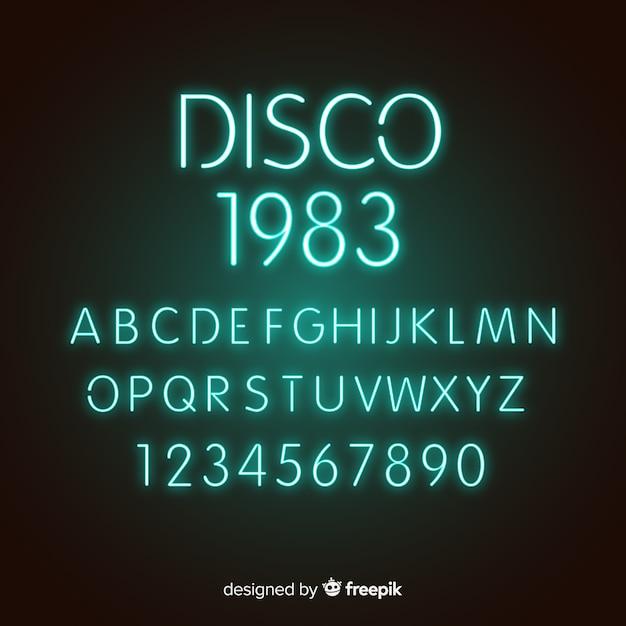 Lettertype met alfabet in neon stijl Gratis Vector