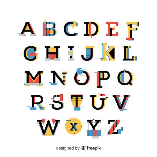 Lettertype met alfabet in retro stijl Gratis Vector