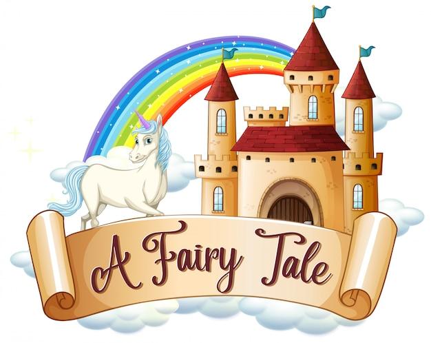 Lettertype ontwerp voor woord een sprookje met eenhoorn door het kasteel Gratis Vector