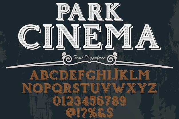 Lettertype, park cinema Premium Vector