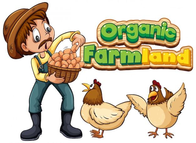 Lettertype voor woord biologische landbouwgrond met boer en kippen Gratis Vector