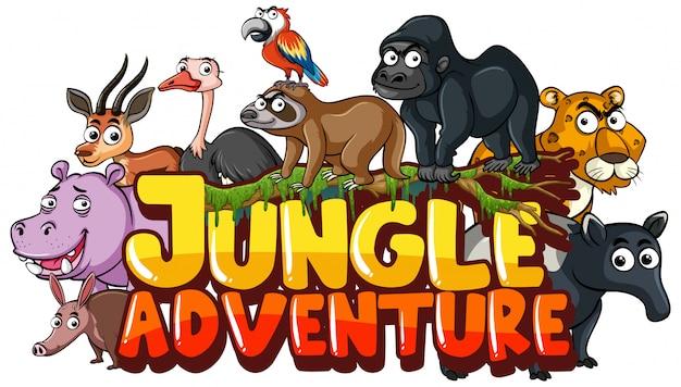 Lettertype voor woord jungle avontuur met wilde dieren Premium Vector