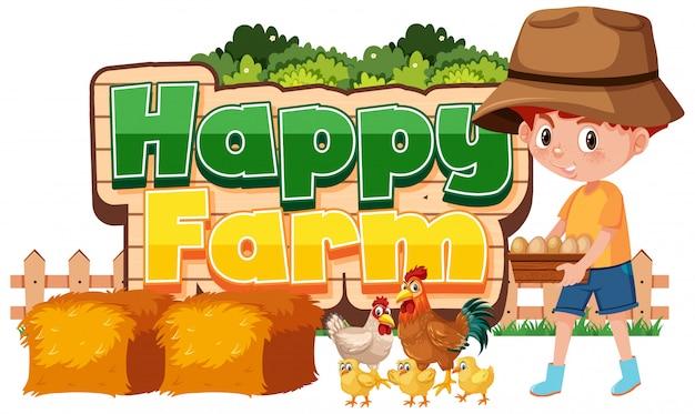 Lettertypeontwerp voor gelukkige boerderij met jongen en kip Premium Vector