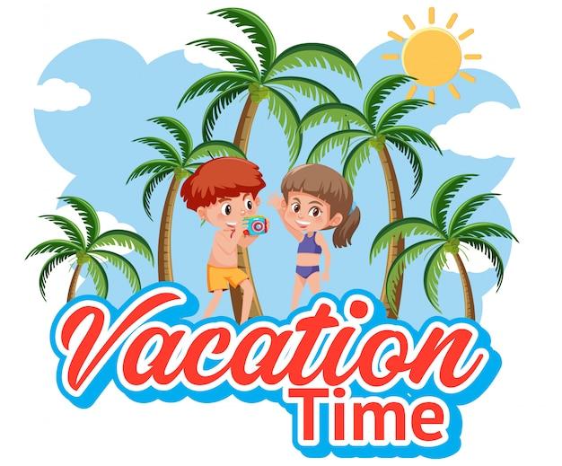 Lettertypeontwerp voor vakantietijd met gelukkige jongen en meisje Premium Vector