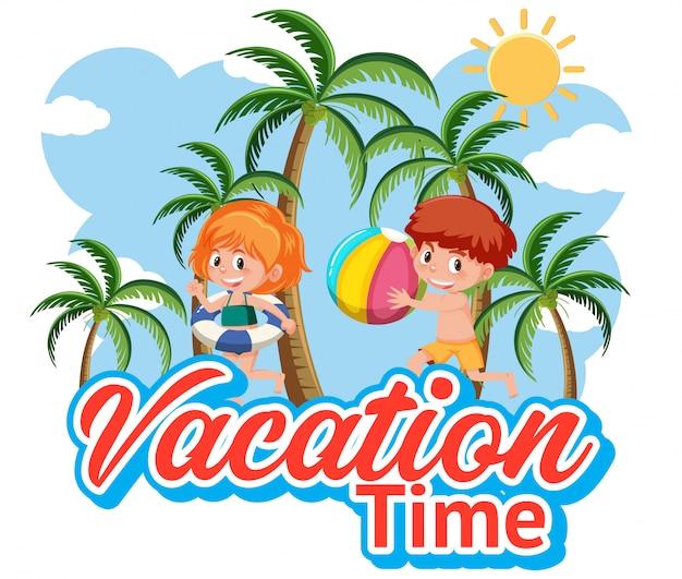 Lettertypeontwerp voor vakantietijd met spelende kinderen Premium Vector