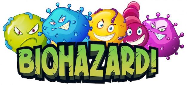 Lettertypeontwerp voor woord biohazard met viruscellen Gratis Vector
