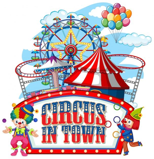 Lettertypeontwerp voor woordcircus in de stad met clowns in het circus Gratis Vector