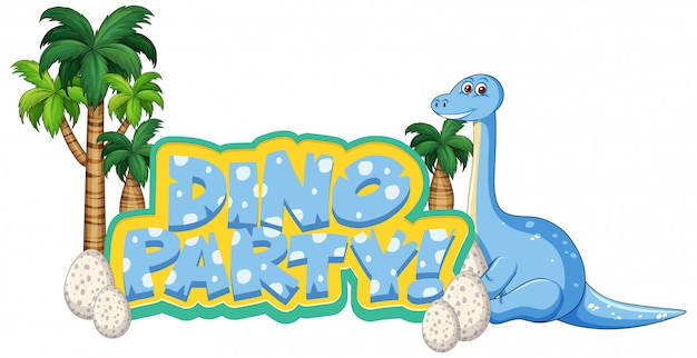 Lettertypeontwerp voor woorddino-feest met apatosaurus en egss Gratis Vector