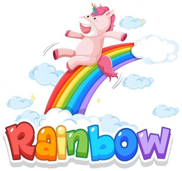 Lettertypeontwerp voor woordregenboog met regenboog op de hemelachtergrond Premium Vector