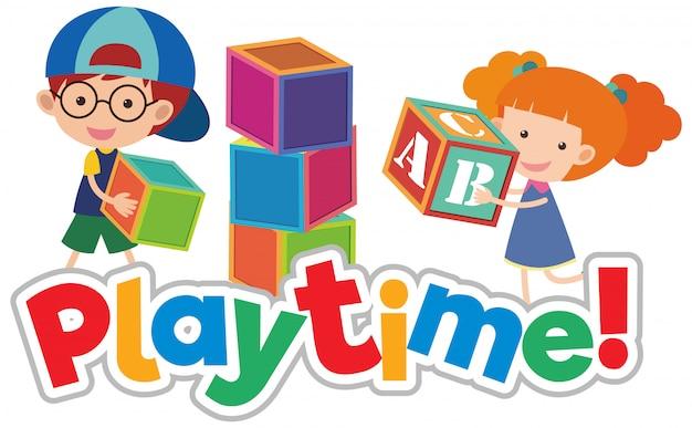 Lettertypeontwerp voor woordspeeltijd met gelukkige kinderen die spelen Premium Vector