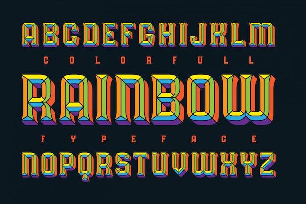 Lettertypeset met vet geëxtrudeerd effect Gratis Vector