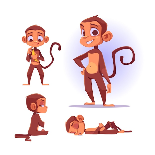 Leuk aapkarakter in verschillende poses. vector set cartoon chat bot, grappige aap glimlachen Gratis Vector