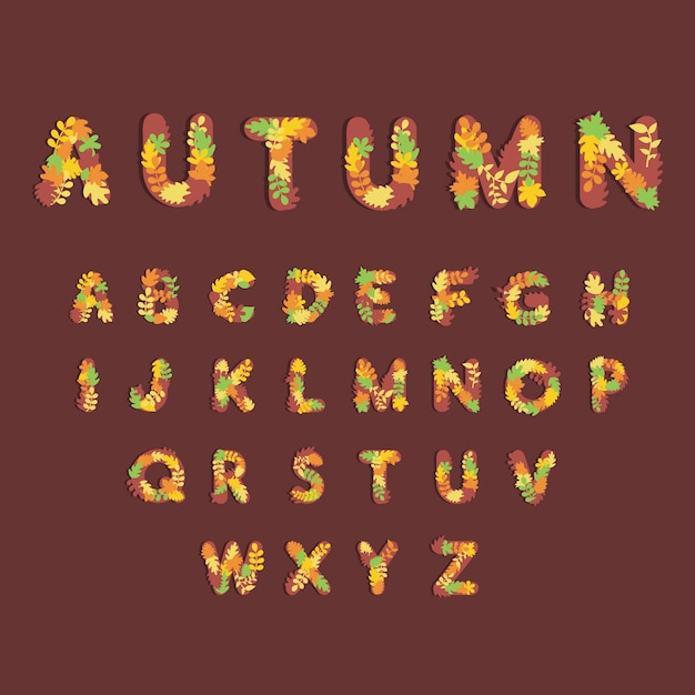 Leuk alfabet voor herfst seizoenen op banner, website of poster sjabloon Premium Vector