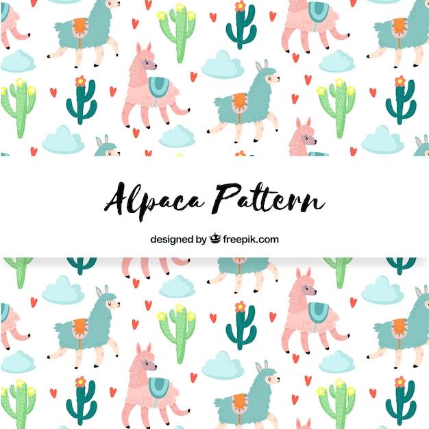 Leuk alpaca-patroon met de natuur Gratis Vector