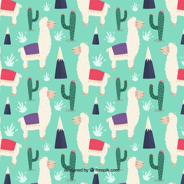 Leuk alpacaspatroon met cactus Gratis Vector