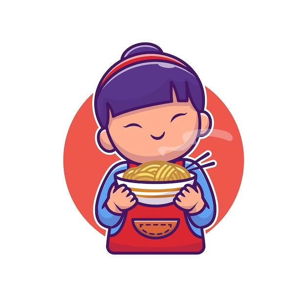 Leuk aziatisch meisje met noedel cartoon Premium Vector
