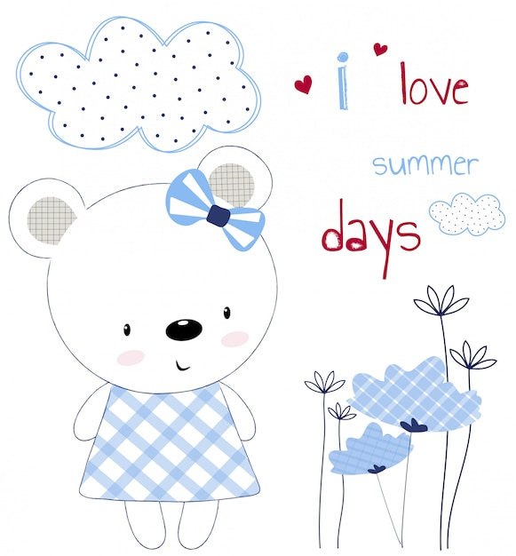 Leuk beermeisje op een kaart met bloemen en harten Premium Vector