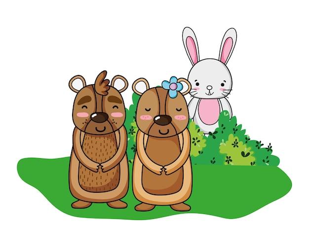 Leuk berenpaar met konijn in de struik Premium Vector