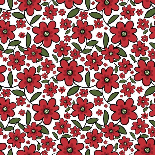 Leuk bloemen naadloos patroon. Premium Vector