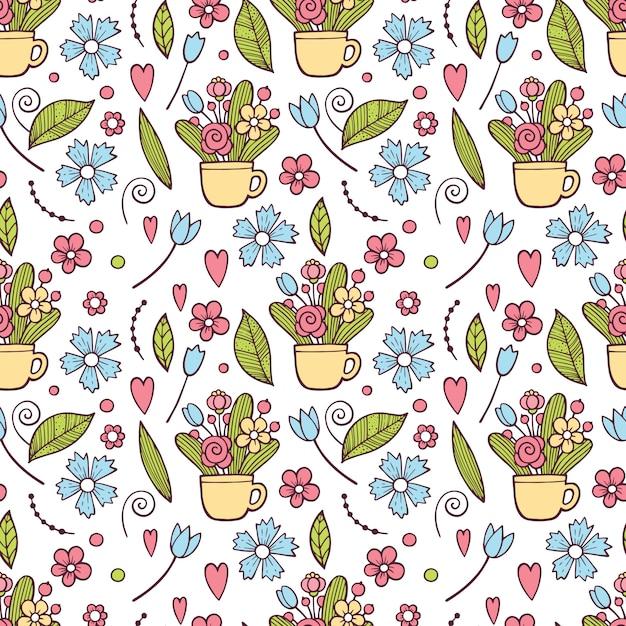 Leuk bloemenpatroon in de kleine bloem. ditsy afdrukken. motieven verspreid willekeurig. Premium Vector