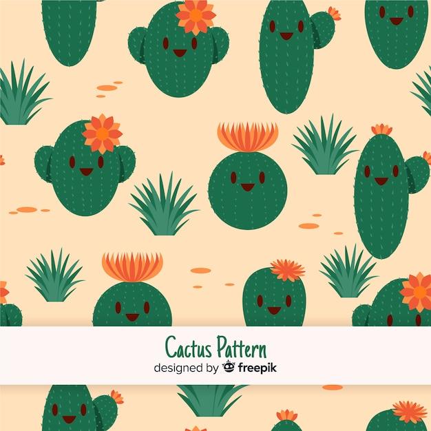 Leuk cactuspatroon Gratis Vector
