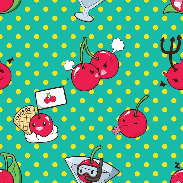 Leuk cherry catoon karakterpatroon. Premium Vector