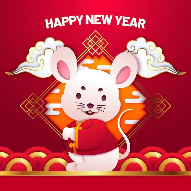 Leuk chinees nieuwjaar in papierstijl Gratis Vector