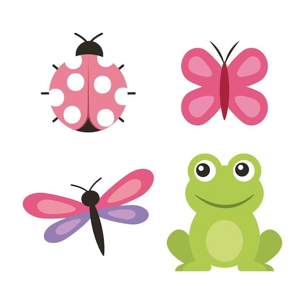 Leuk de vlinder lieveheersbeestje van de kikkervlinder Premium Vector