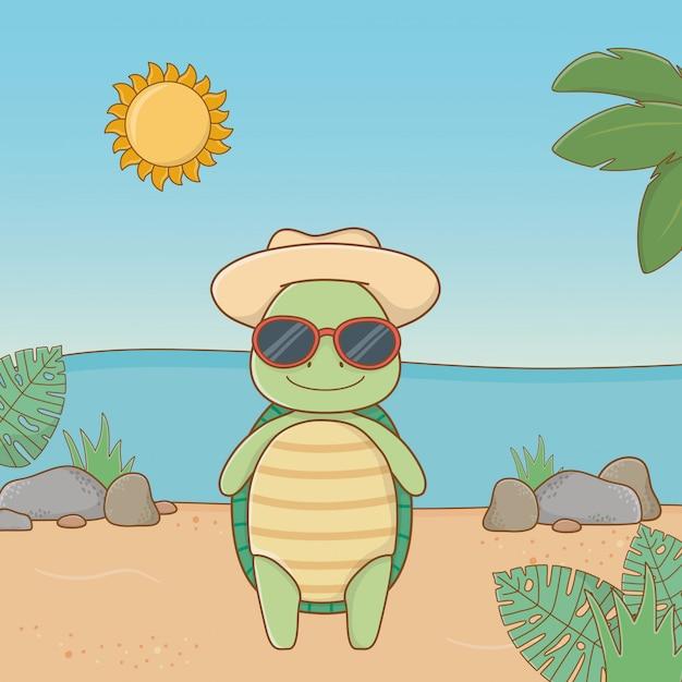 Leuk dier die de zomer van vakanties genieten Gratis Vector