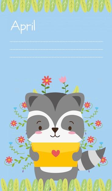 Leuk dier met liefdesbrief, vlakke en cartoonstijl, illustratie Gratis Vector