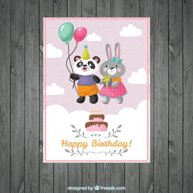 Leuk dier paar verjaardagskaart Gratis Vector