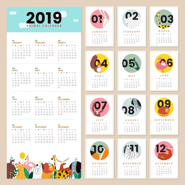 Leuk dierlijk kalendermodel Gratis Vector
