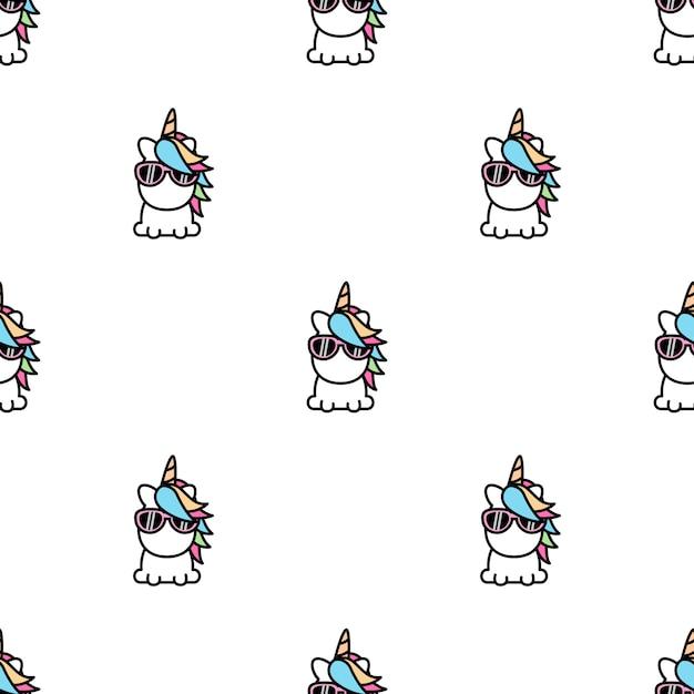 Leuk eenhoorn naadloos patroon Premium Vector