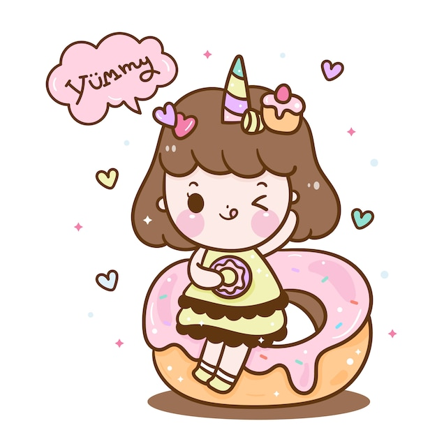 Leuk eenhoornmeisje op doughnutbeeldverhaal Premium Vector