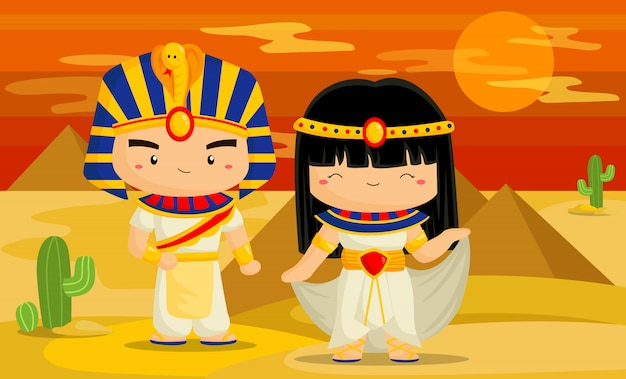 Leuk egypte kostuum en achtergrond Premium Vector