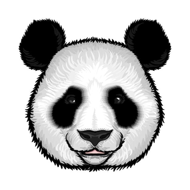 Leuk fluffy panda face Gratis Vector