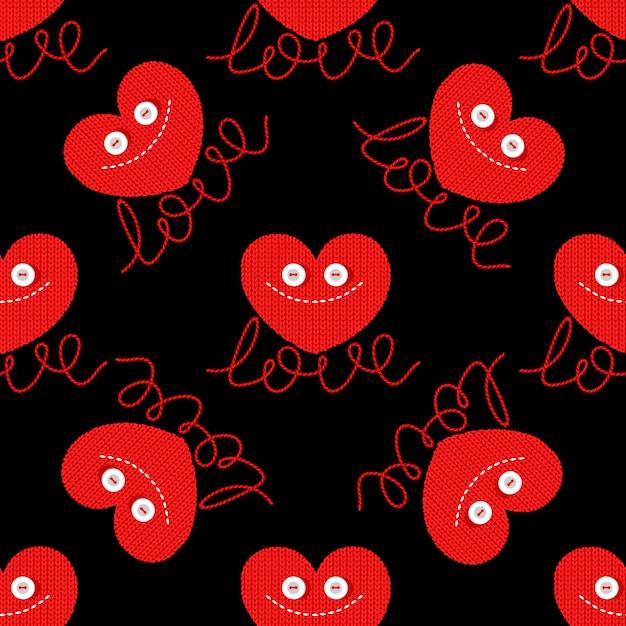 Leuk gebreid hart voor valentijnsdag ontwerp Premium Vector